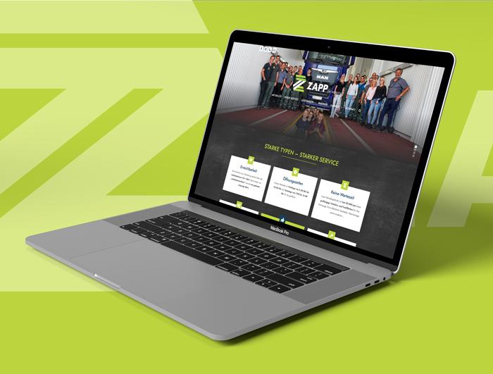 Mockup von Internetauftritt der Firma Zapp GmbH in Bernburg