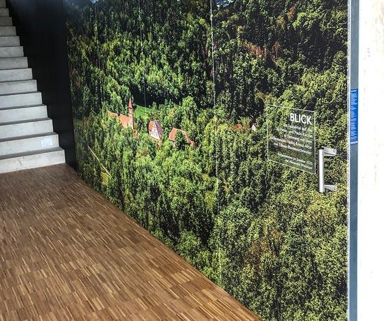 Beklebung einer Brandschutztüre mit Spezialfolie im ctk Sportpark in Neusitz